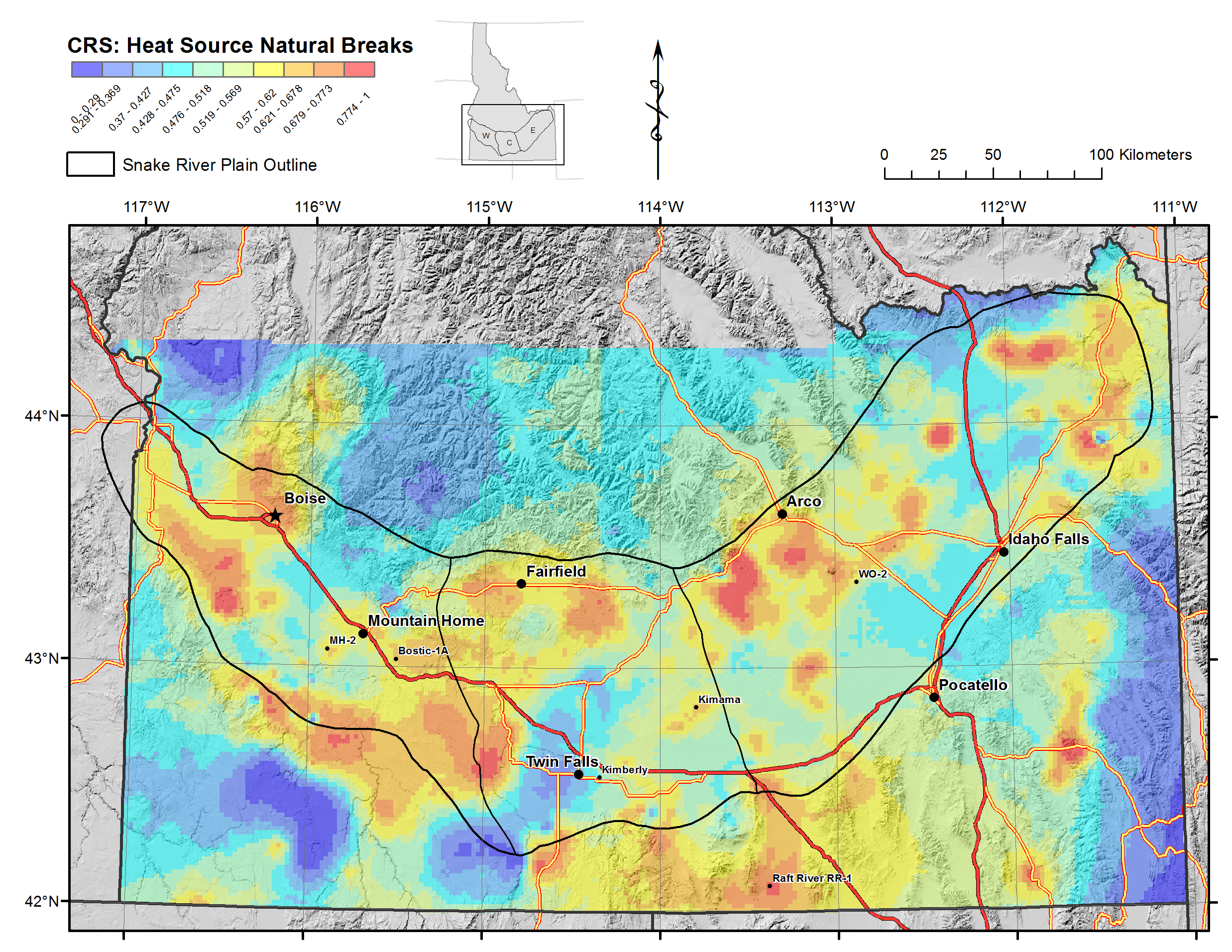 Snake River Plain Geothermal Play Fairway Analysis Raster Files - Snake river world map